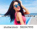 close up portrait of attractive ... | Shutterstock . vector #583547995
