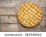 apple pie tart with raisins ...   Shutterstock . vector #583548562