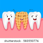 funny peanut cartoon tooth... | Shutterstock .eps vector #583550776