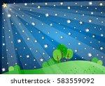 surreal landscape with big star ... | Shutterstock .eps vector #583559092