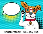 funny surprised pop art dog in... | Shutterstock .eps vector #583559455