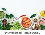 top view of light dinner... | Shutterstock . vector #583560562