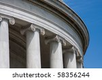 Detail of Classical Architecture Column and Frieze - stock photo