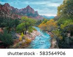 small river in the zion... | Shutterstock . vector #583564906