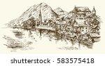 austria  rural village. hand... | Shutterstock .eps vector #583575418