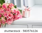 gift box with pink ribbon with... | Shutterstock . vector #583576126