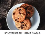 Chocolate Chip Cookies On Whit...