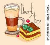 coffee break.  cocoa and... | Shutterstock .eps vector #583579252