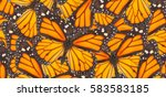 Stock photo orange monarch butterfly close up natural background 583583185