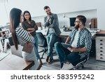 important meeting. handsome... | Shutterstock . vector #583595242