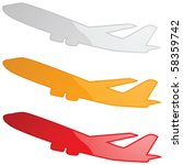 Glossy vector illustration of an airplane in three different colors - stock vector