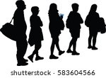 full length of silhouette... | Shutterstock .eps vector #583604566