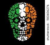 irish skull with clover  grunge ... | Shutterstock .eps vector #583606276