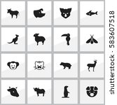 set of 16 editable nature icons.... | Shutterstock .eps vector #583607518