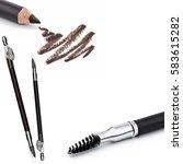eyeliner  eye contour brush ... | Shutterstock . vector #583615282
