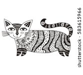 cute cartoon cat. vector... | Shutterstock .eps vector #583615966