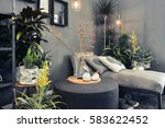 lounge sofa in home terrace  | Shutterstock . vector #583622452