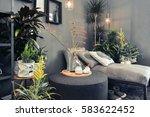 lounge sofa in home terrace  | Shutterstock . vector #583622452