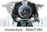 double exposure of success... | Shutterstock . vector #583627486