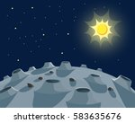 lunar landscape and sun in the...