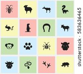 set of 16 editable zoo icons.... | Shutterstock .eps vector #583636465