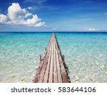 wooden pier on a tropical... | Shutterstock . vector #583644106