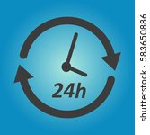 clock 24h icon vector. flat...   Shutterstock .eps vector #583650886