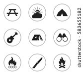 set of 9 editable camping icons.... | Shutterstock .eps vector #583655182