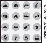 set of 16 editable trip icons....