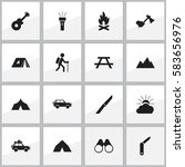 set of 16 editable trip icons.... | Shutterstock .eps vector #583656976