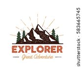 outdoor explorer badge. retro... | Shutterstock . vector #583665745