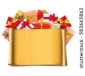 vector scroll with gifts | Shutterstock .eps vector #583665862