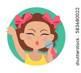 singing girl with brown wavy... | Shutterstock .eps vector #583680022