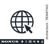 globe web icon flat. black... | Shutterstock .eps vector #583687462