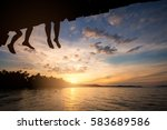 couple silhouette and watching... | Shutterstock . vector #583689586