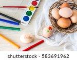 hen's eggs is prepared for...   Shutterstock . vector #583691962