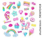 girls fairy stickers set. cute... | Shutterstock .eps vector #583692418