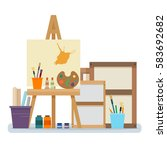 art studio interior. creative... | Shutterstock .eps vector #583692682