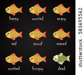 fish language alphabet   how to ... | Shutterstock .eps vector #583695562