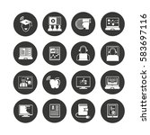 online learning icon set in... | Shutterstock .eps vector #583697116