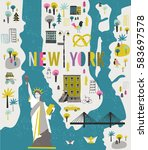 Cartoon Map Of New York With...