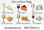 wine and cheese pairing vector... | Shutterstock .eps vector #583704112