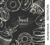 vector background with sweet... | Shutterstock .eps vector #583704196