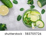 refreshing water with cucumber  ... | Shutterstock . vector #583705726