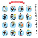 working day busy template... | Shutterstock .eps vector #583707022