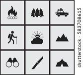 set of 9 editable travel icons. ... | Shutterstock .eps vector #583708615