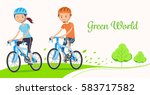 driving bicycles to reduce... | Shutterstock .eps vector #583717582
