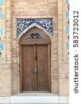 Small photo of Wooden door of Guri Amir. It is a mausoleum of the Asian conqueror Tamerlane in Samarkand, Uzbekistan