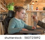 a disabled child in a... | Shutterstock . vector #583725892