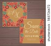 wedding invitation card suite... | Shutterstock .eps vector #583726672